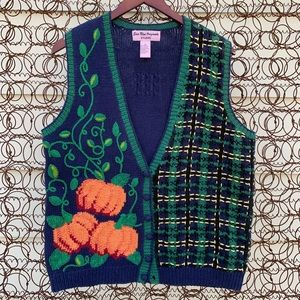 Vintage 90s fall/Halloween knit sweater vest ugly